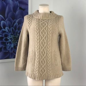 J Crew Chunky Star Cable Popover Sweater